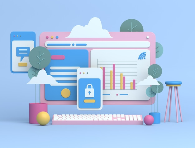 Conception d'illustration 3d pour le marketing en ligne
