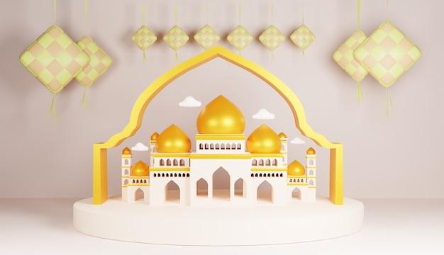Conception d'illustration 3d spéciale pour le ramadan et l'aïd