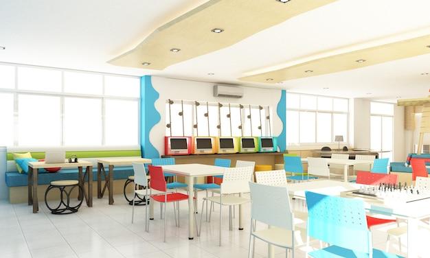 Conception d'intérieur de bibliothèque d'école d'enfants pour l'étudiant avec coloré et bois. rendu 3d de concept d'amusement et d'océan