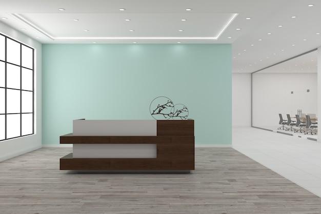 Conception d'intérieur de vue de face de maquette de bureau de réception de bureau