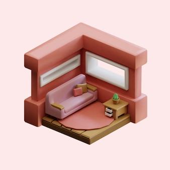 Conception isométrique de salon réaliste en rendu 3d