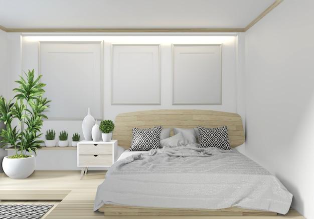 Conception japonaise de zen japonais de chambre à coucher de chambre à coucher avec la lumière cachée sur le fond de mur blanc