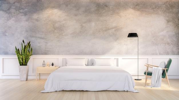 Conception de loft minimaliste de l'intérieur de la chambre, rendu 3d