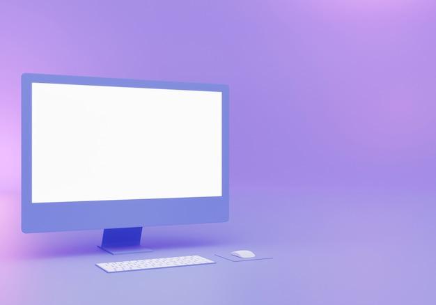 Conception de maquette de bureau bleu rendu 3d avec espace vide