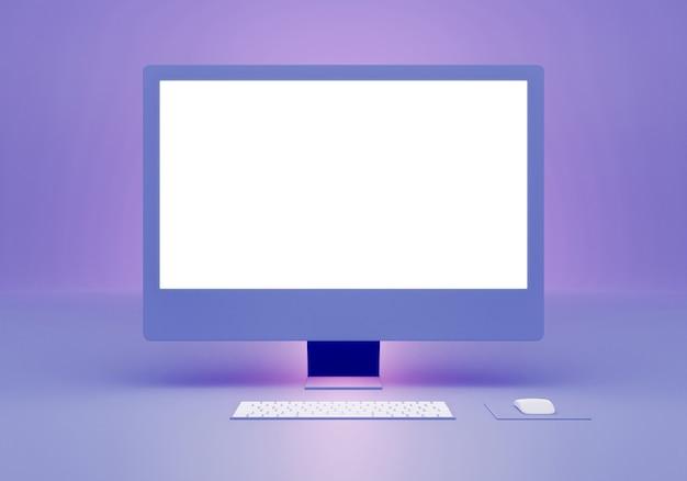 Conception de maquette de moniteur d'ordinateur bleu rendu 3d avec espace vide