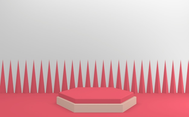 Conception minimale de mini podium rose de valentine. rendu 3d