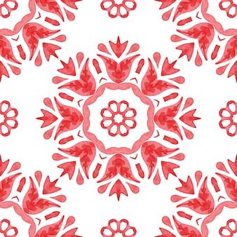 Conception de modèle de mandala de fleurs peintes à la main transparente aquarelle rouge et blanc