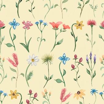 Conception de modèle sans couture florale aquarelle fleurs sauvages