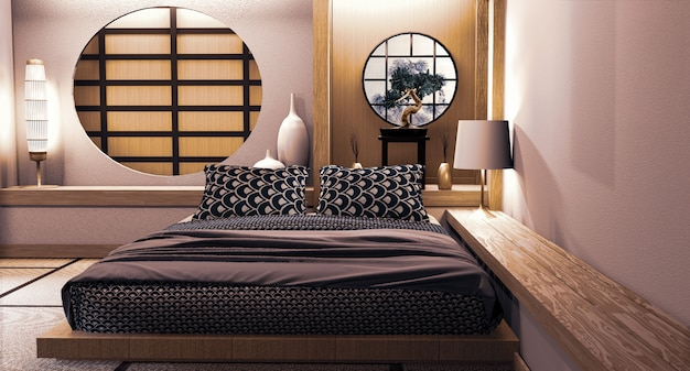 Conception de mur japonais de fenêtre de cercle sur le style japonais de chambre à coucher rendu 3d