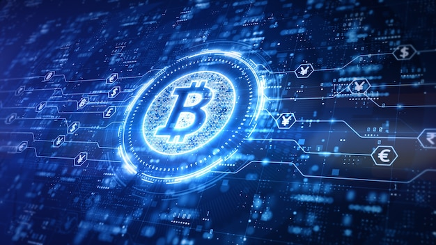 Conception numérique bitcoin avec fond bleu