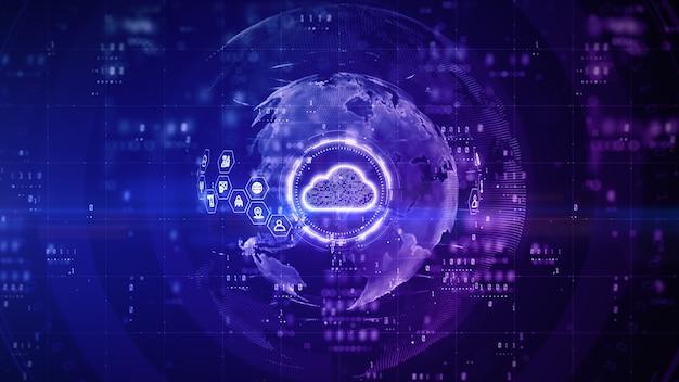 Conception numérique en nuage avec fond violet