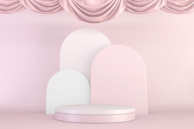 Conception de piédestal rose minimal pour l'exposition du produit, le rendu