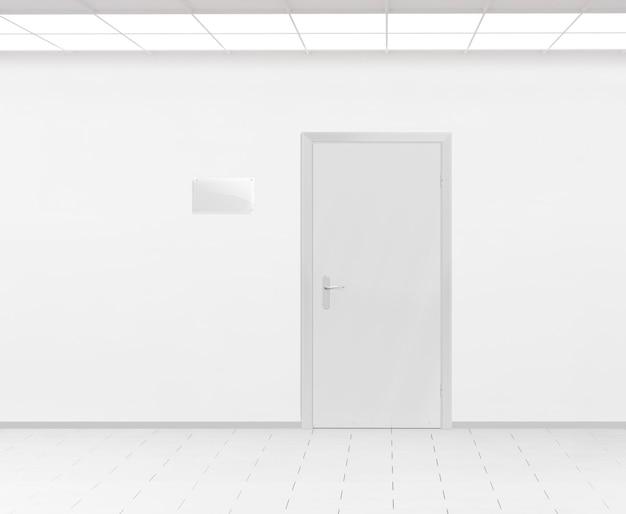 Conception de plaque de nom en verre blanc près de la porte