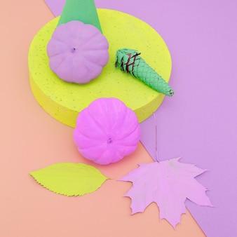 Conception à plat de mode d'automne de vanille de citrouille peinte dans l'abstraction de géométrie