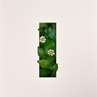 Conception de polices, police de l'alphabet abstrait avec des feuilles et des fleurs, typographie de feuilles réalistes - i