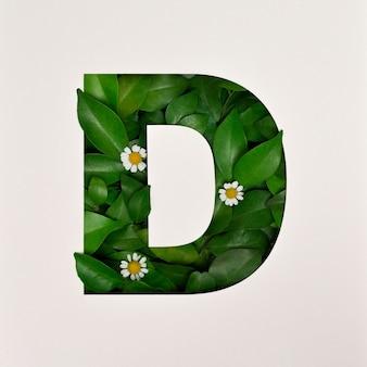 Conception de polices, police alphabet abstraite avec feuilles et fleurs, typographie de feuilles réalistes - d