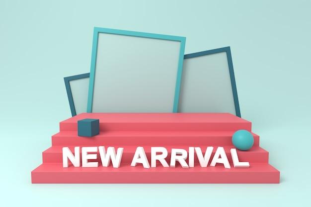 Conception de présentoir avec une nouvelle arrivée. rendu 3d.