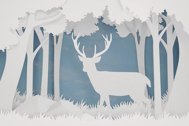 Conception de rendu 3d, art du papier et style artisanal de deer dans la forêt.