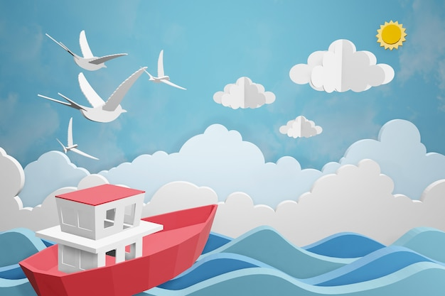 Conception de rendu 3d, le bateau navigue dans la mer sous le soleil.