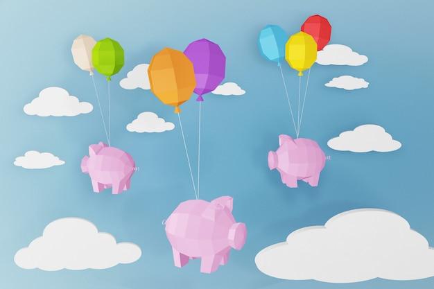 Conception de rendu 3d, bonne année, cochon et ballons avec nuage.