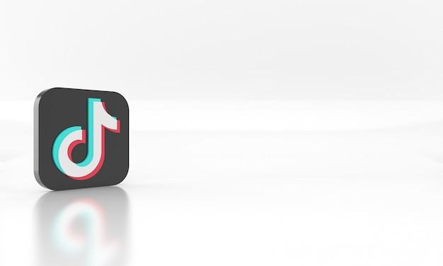 Conception de rendu 3d brillant du logo ou du symbole des médias du réseau social tik tok sur fond blanc
