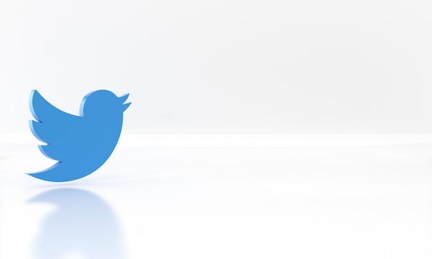 Conception de rendu 3d brillant du logo ou du symbole des médias du réseau social twitter sur fond blanc