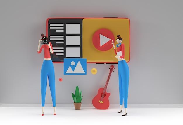 Conception de rendu 3d créatif pour bannière web, matériel marketing, présentation commerciale, publicité en ligne.