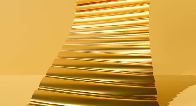 Conception de rendu 3d d'escaliers dorés sur fond de mur abstrait.