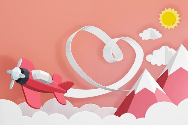 Conception de rendu 3d, ruban coeur avec avion rose volant dans le ciel.