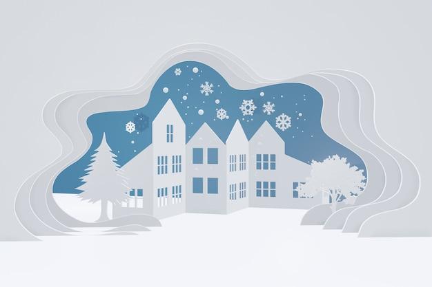 Conception de rendu 3d, style art papier de paysage de campagne urbaine de neige avec espace de copie.