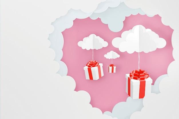 Conception de rendu 3d, style papier d'art de nuage en forme de coeur et chute de boîte-cadeau.