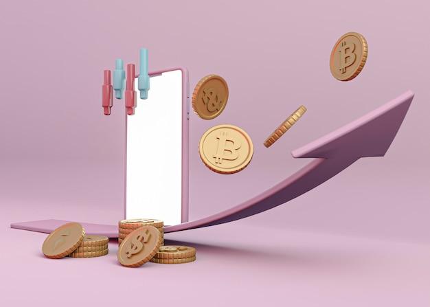 Conception De Rendu De Crypto-monnaie 3d Photo gratuit