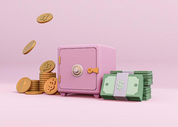 Conception de rendu de crypto-monnaie 3d