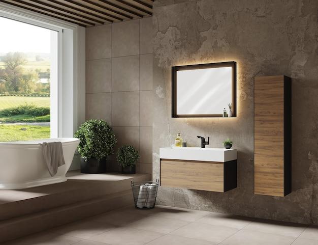 Conception de salle de bain avec meuble, miroir et baignoire rendu 3d