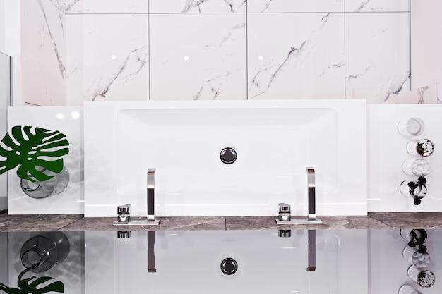 Conception de salle de bain moderne avec des carreaux de marbre et de bois