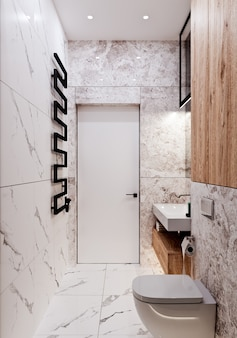 Conception de salle de bain moderne avec des carreaux sous le béton et le marbre