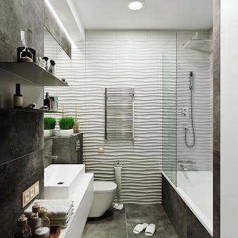 Conception de salle de bain moderne avec des carreaux sous le carrelage en béton et vague