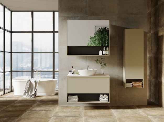 Conception de salle de bain moderne avec meubles de salle de bain, rendu 3d