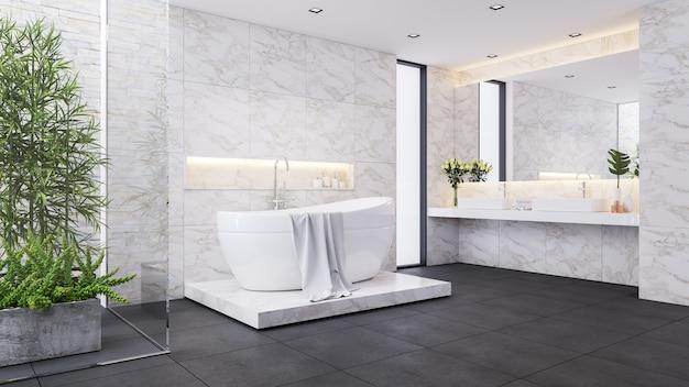 Conception de salle de bains de luxe moderne, salle blanche, baignoire blanche sur mur de marbre, rendu 3d