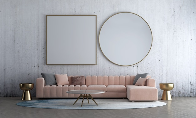 Conception de salon intérieur maquette moderne à partir d'un vieux décor de fond de mur en béton et d'un canapé rose avec rendu 3d d'une table d'appoint en or