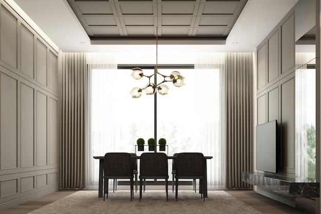 Conception de scène d'image intérieure de salle à manger de luxe moderne avec décoration murale détaillée et élément de mobilier classique rendu 3d