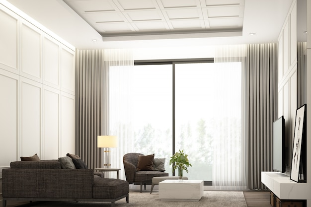 Conception de scène d'image intérieure de salon de luxe moderne avec décoration murale détaillée de meubles classiques et ensemble de meubles rendu 3d