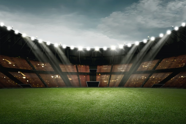 Conception de stade de football avec de l'herbe verte et de la lumière pour l'éclairage