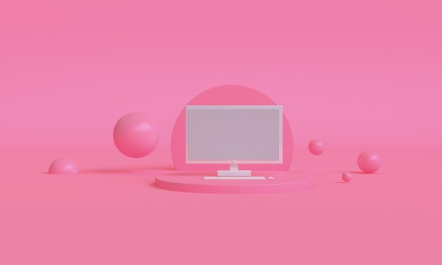 Conception de style minimaliste de couleur ordinateur rose 3d, podium de scène maquette présentation, fond abstrait de rendu 3d.