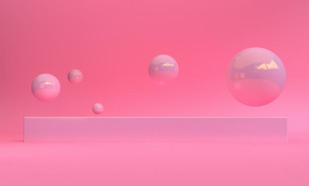 Conception de style minimaliste de couleur rose 3d, présentation de maquette de podium de scène, fond abstrait de rendu 3d.