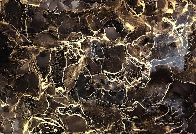 Conception de texture marbrée dorée pour affiche, brochure, invitation, livre de couverture, catalogue. abstrait de luxe technique d'encre à l'alcool noir et or. peinture d'art fluide.