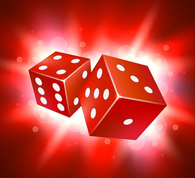 Conception de vecteur de dés. concept de jeu de casino à deux dés.