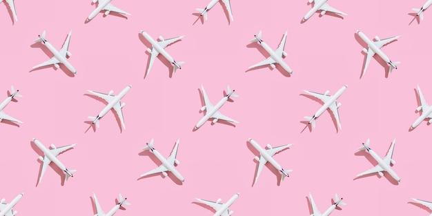 Concepts de fond de vacances avec groupe d'avion sur couleur pastel