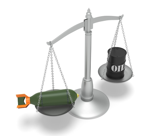 Concepts sur les guerres du pétrole. image générée numériquement isolé sur fond blanc. rendu 3d