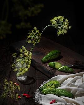 Concombres et petits poivrons